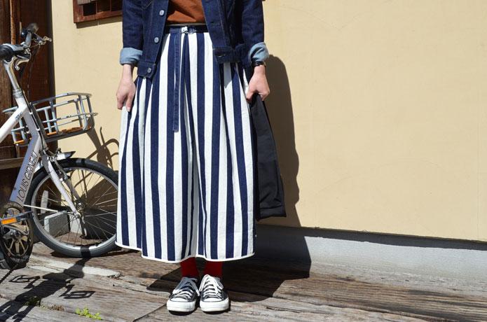 グランマママドーターストライプスカート