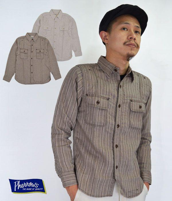 PHERROW'S (フェローズ) リネン ストライプ ワークシャツ LINEN STRIPE WORK SHIRTの画像