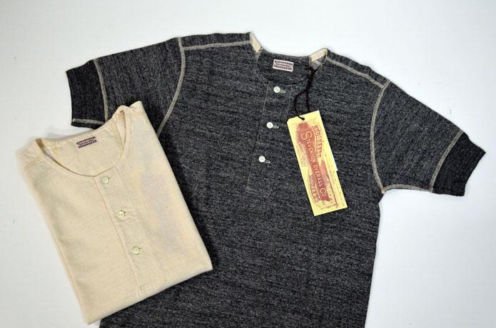 スティーブンソンオーバーオールのヘンリーネックTシャツ