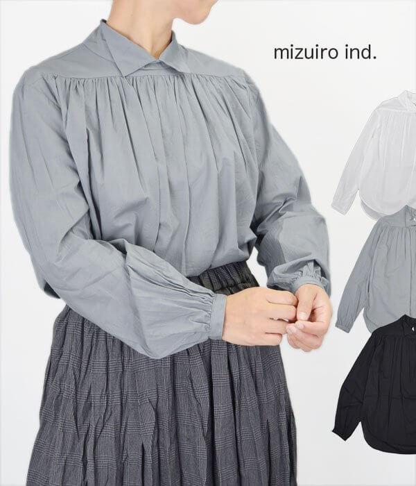 ミズイロインド (mizuiro-ind) SHIRT P/0 長袖プルオーバーギャザーシャツ ブラウス 3-238539