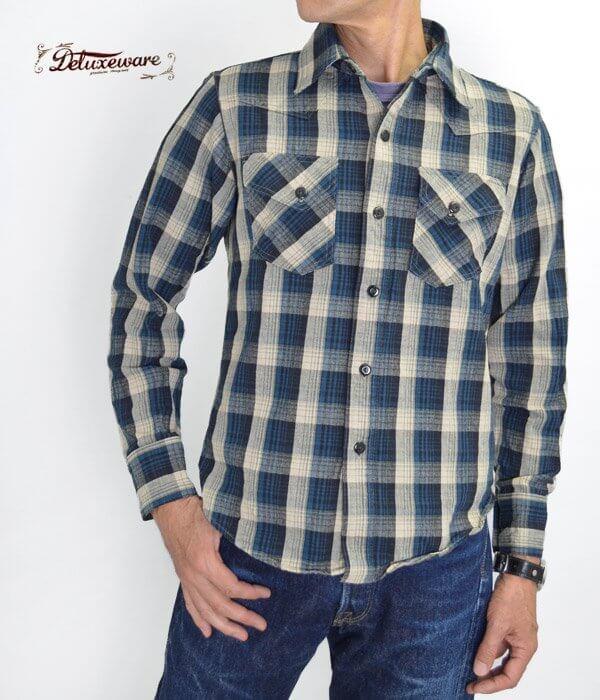 デラックスウエア (DELUXEWARE) BLUE DELUXE 長袖ウエスタン ネルシャツ MVS-04