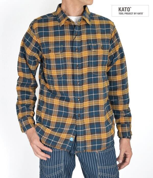 カトー (KATO') ビエラチェックワークシャツ 長袖チェックシャツ