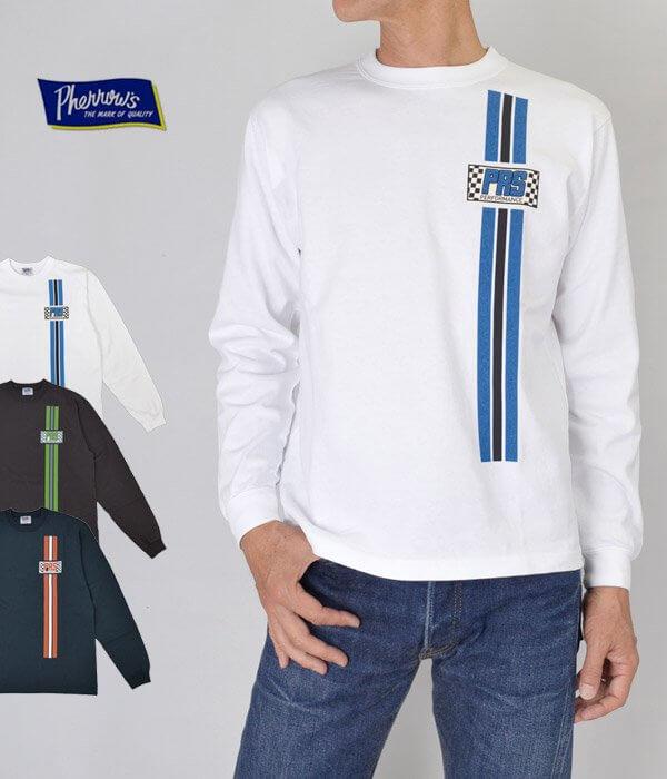 """フェローズ (PHERROW'S) ロングスリーブTシャツ """"PRS"""" ロンT 長袖Tシャツ プリントTシャツ 19W-PLT1"""