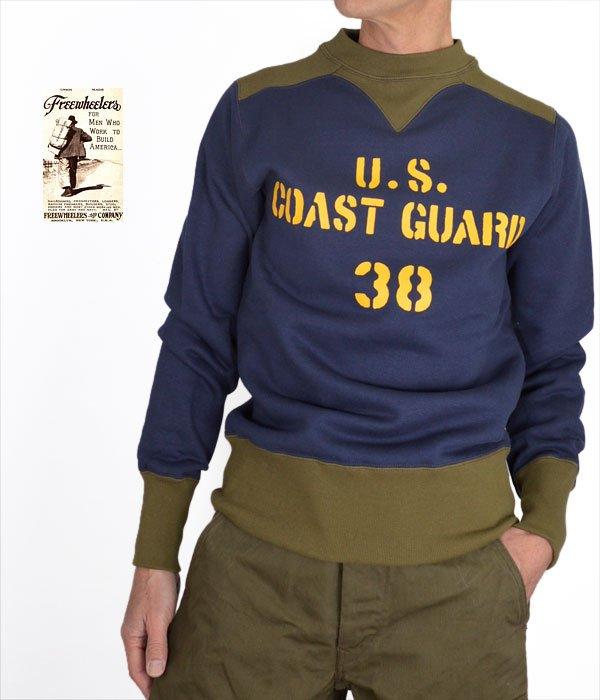 """フリーホイーラーズ (FREEWHEELERS) ATHLETIC SWEAT SHIRT """"U.S. COAST GUARD"""" 長袖プリント スウェットシャツ 1934002"""