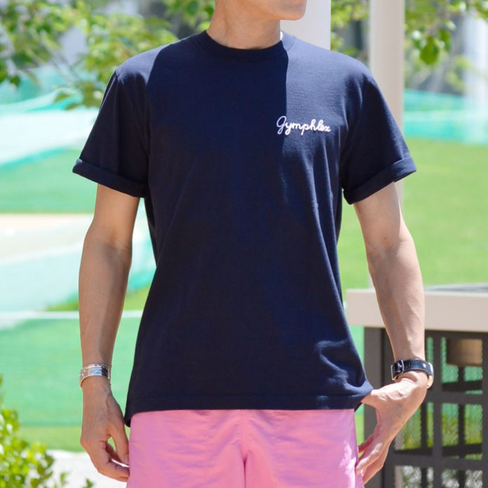 トップジミーのメンズコーディネート画像 ジムフレックス (GYMPHLEX) コットンジャージー 刺繍ロゴ 半袖TシャツJ-1155CH