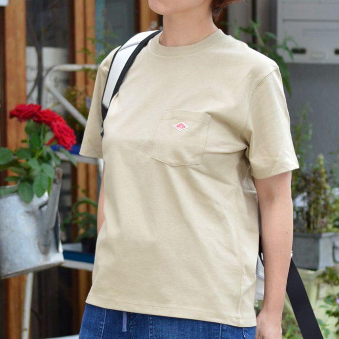 トップジミーのレディースコーディネート画像 ダントン (DANTON) クルーネック コットンポケット半袖Tシャツ JD-9041