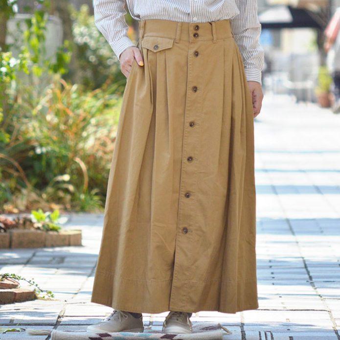 トップジミーのレディースコーディネート画像 ジムフレックス (GYMPHLEX) コットンツイル ボタン フレアスカート タックロングスカート J-1463TNT
