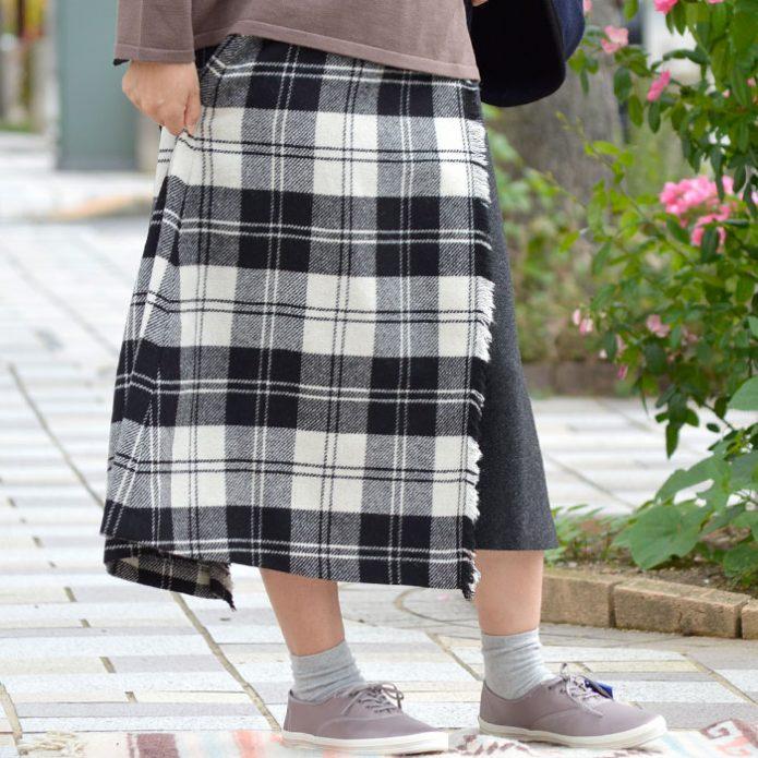 トップジミーのレディースコーディネート画像 オニールオブダブリン (ONEIL OF DUBLIN) ヘビーツイード タータンチェック コンビラップフレアスカート