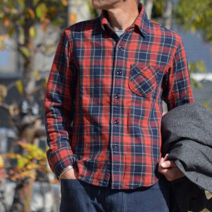 トップジミーのメンズコーディネート画像 デラックスウエア (DELUXEWARE) UNION RED 長袖チェックヘビーネルシャツ HV-40