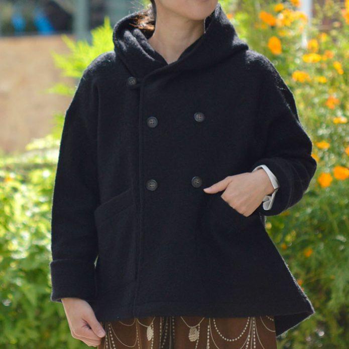 トップジミーのレディースコーディネート画像 マオメイド (MAOMADE) 圧縮ウール フード付きジャケット ニットジャケット コート アウター 041124