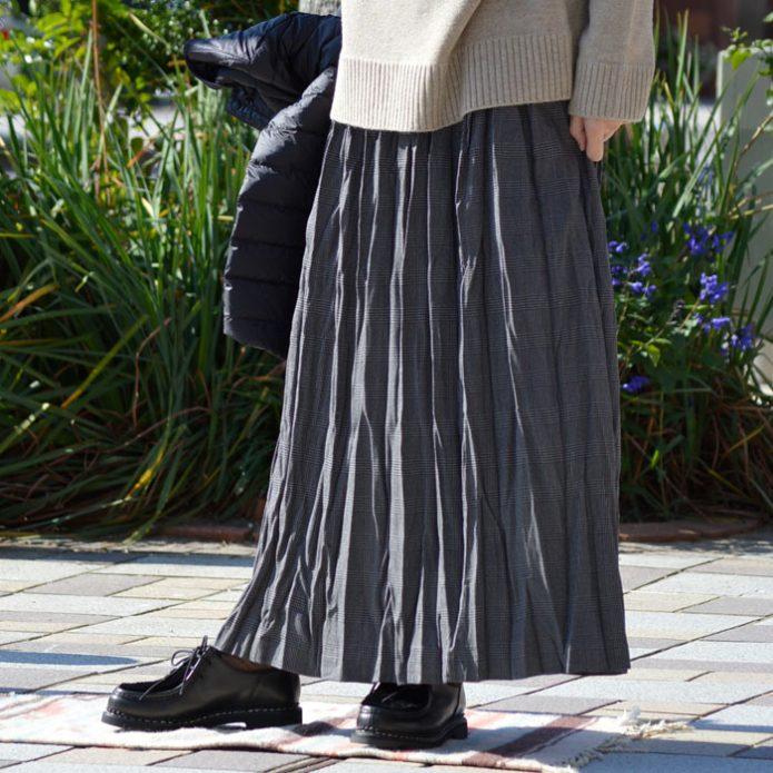 トップジミーのレディースコーディネート画像 ミズイロインド (mizuiro-ind) check washer SK グレンチェックマキシギャザースカート ロングスカート 3-268553