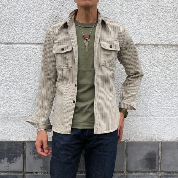 デラックスウエア (DELUXEWARE) HICKORY NEL SHIRT 長袖ヒッコリー ヘビーネルシャツ HV-01